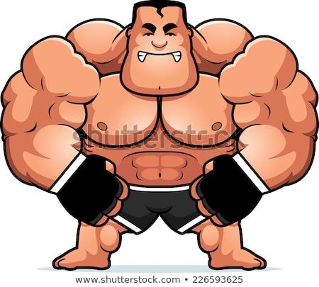Desenho animado lutador ilustração fitness esportes homens Foto stock © cthoman
