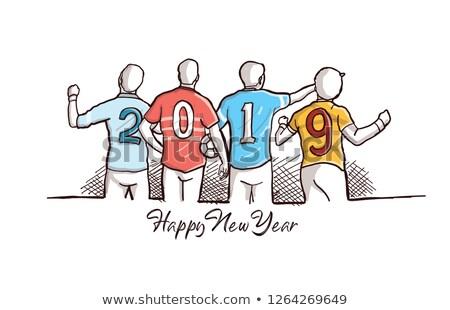 cartoon colorful hand drawn doodles football 2019 year calendar stock photo © balabolka