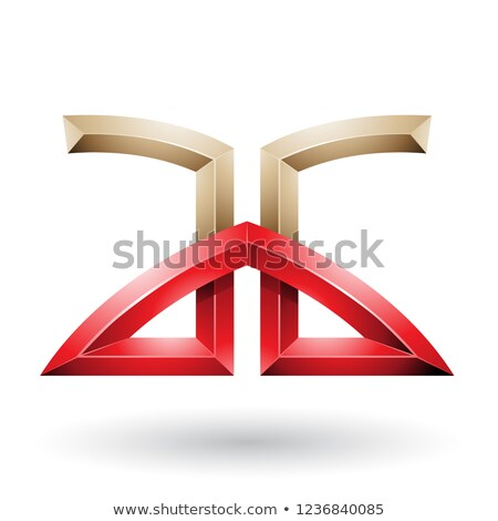 Beige and Red Bridged Embossed Letters of A and G Vector Illustr Stock photo © cidepix