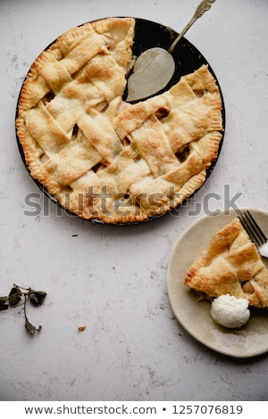 Stock photo: Traditional Baked Apple Pie Cake Served On Ceramic Plate