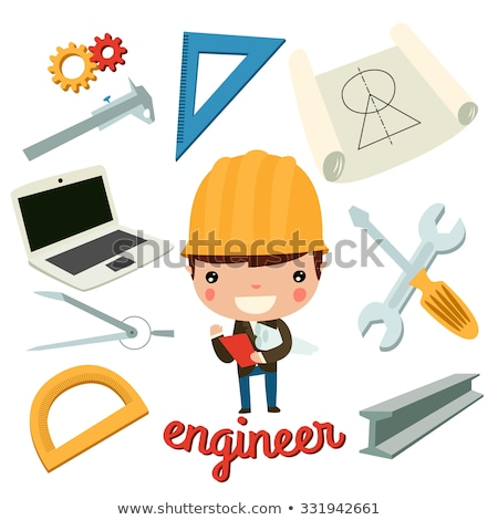 Builders and Engineers with Tools and Bricks Set Stock photo © robuart
