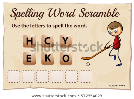 Spelling word scramble game template with hockey Stock photo © colematt