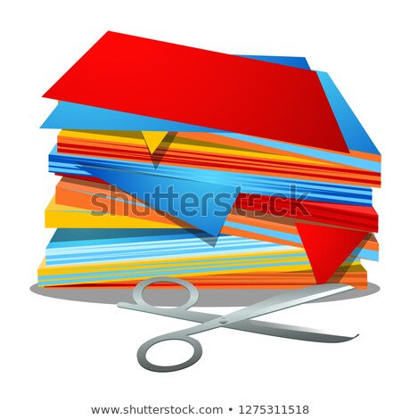 Stock photo: A stack of colored paper and office scissors isolated on white background. Vector cartoon close-up i