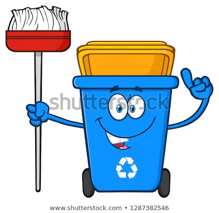 Talking Blue Recycle Bin Cartoon Mascot Character Pointing To A Open Lid Stock photo © hittoon