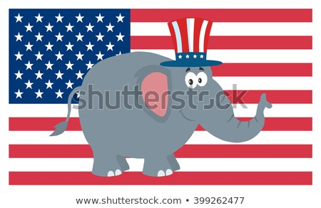 republican elephant cartoon character with uncle sam hat over usa flag stock photo © hittoon