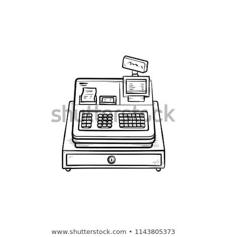 caixa · registradora · máquina · esboço · ícone · vetor · isolado - foto stock © rastudio