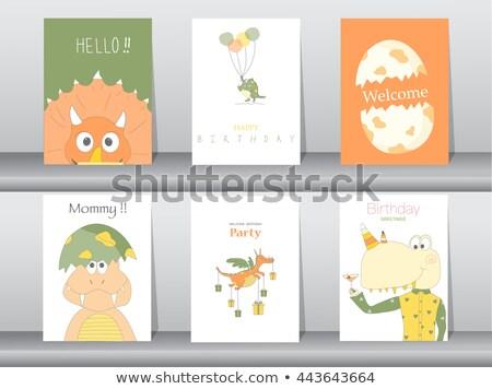 Banner template with dinosaur eggs Stock photo © colematt