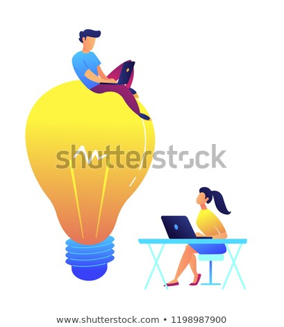 Programmer working with laptop on huge light bulb and designer at desk vector illustration. Stock photo © RAStudio