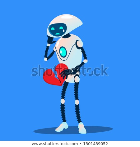 Crying Robot Holding A Broken Heart In Hands Vector. Isolated Illustration Stock photo © pikepicture