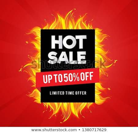 Promo Poster with Burning Fire Flame, Hot Offer Sale Stock photo © robuart