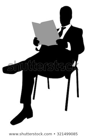 Silueta hombre lectura periódico Londres primer plano Foto stock © nito
