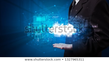 Stock photo: Person holding cloud system hologram screen