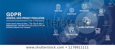 Danych prywatność banner malutki ludzi Zdjęcia stock © RAStudio