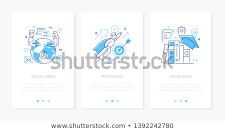 Online education - set of line design style vertical web banners Stock photo © Decorwithme