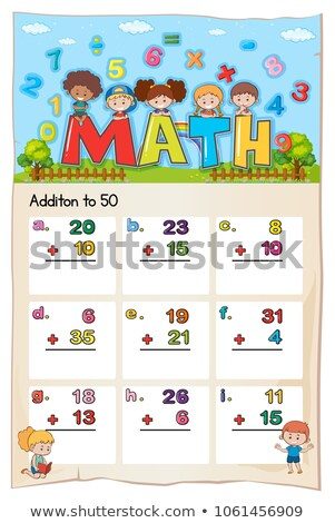 Math worksheet template for addition to fifty Stock photo © colematt