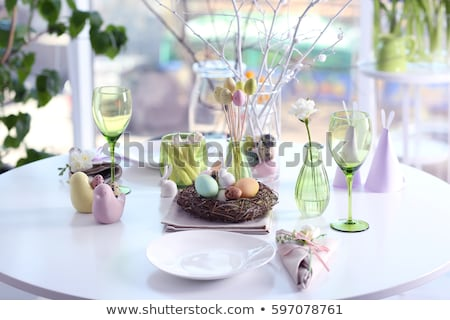 Easter table setting with quail eggs Stock fotó © furmanphoto