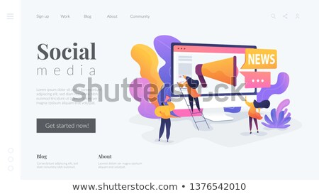 Social media and news tips, smart city landing page template. Stockfoto © RAStudio