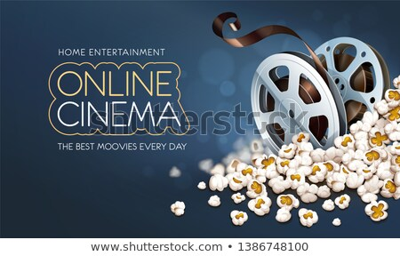 cinematograpy film reel discs in popcorn online movie banner stock photo © loopall