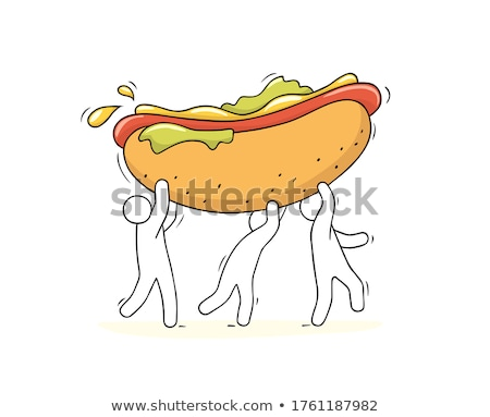 Chef Sausage Cartoon Character Carrying A Hot Dog Stock photo © hittoon