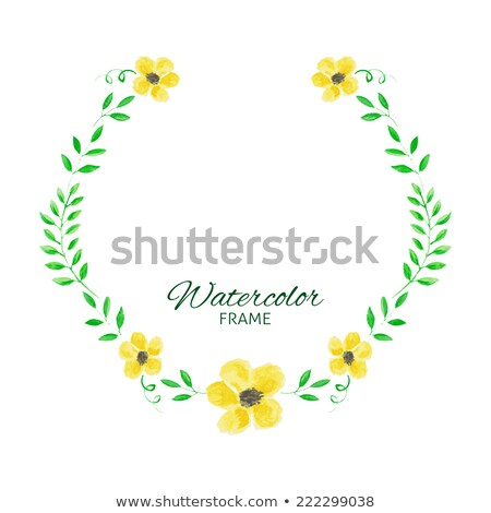 Autumn leaves wreath Vector watercolor. Round leaf frame decorat Stock photo © frimufilms