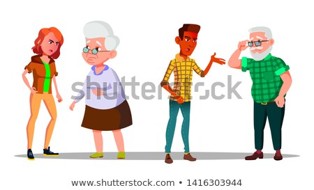 Young Generation Character Abuse Cry At Old Vector Stock photo © pikepicture
