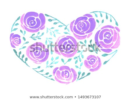 Roses and leaves forming a wide heart watercolor painting Stock photo © shawlinmohd