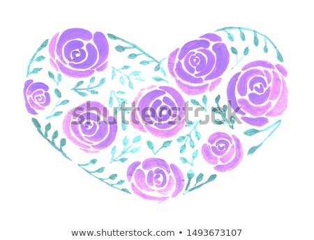 Rosas hojas amplio corazón acuarela pintura Foto stock © shawlinmohd