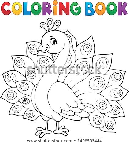 Livre de coloriage paon livre heureux plumes animaux Photo stock © clairev
