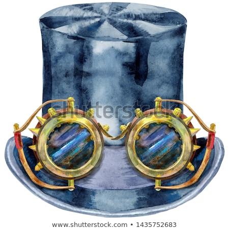 Couleur pour aquarelle noir chapeau steampunk verres cylindre Photo stock © Natalia_1947