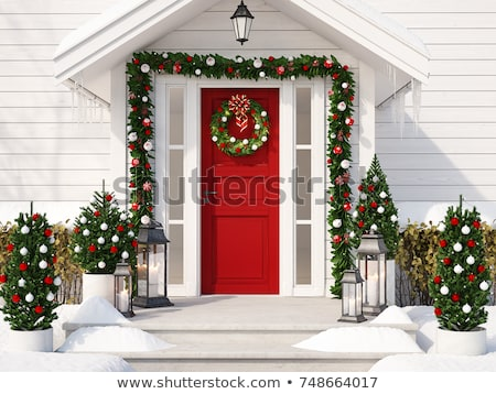 Christmas decoraties voordeur huis home deur Stockfoto © feverpitch