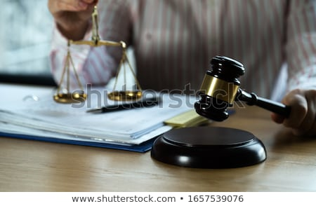 Foto stock: Judge Gavel With Scales Of Justice Professional Female Lawyers