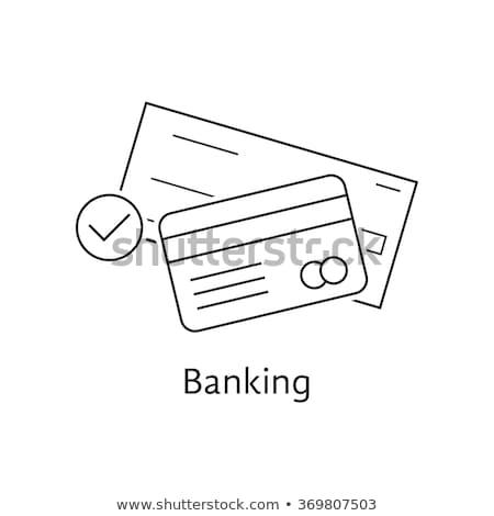moneda · efectivo · banco · vector · delgado · línea - foto stock © pikepicture