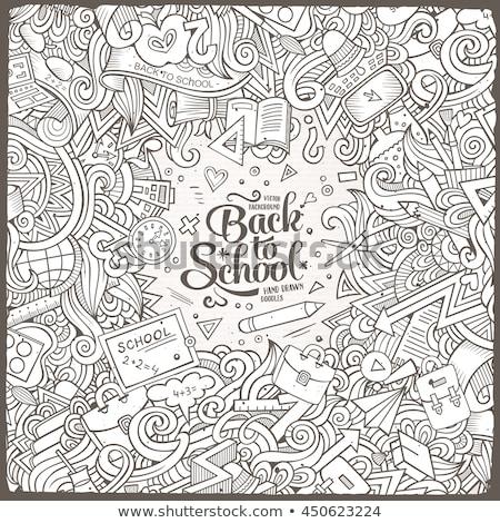 Cartoon doodles Back to school frame. Sketchy education funny border Stock photo © balabolka
