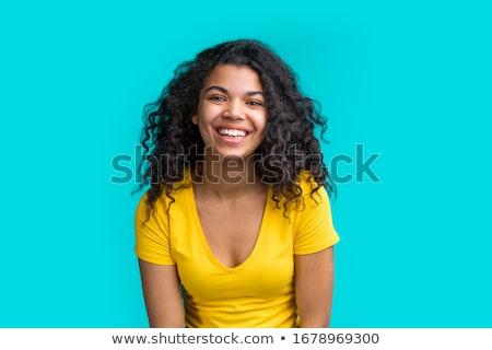 jonge · vrouw · poseren · Geel · vrouwelijke · portret - stockfoto © serdechny