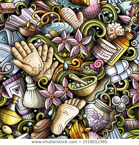 massage hand drawn doodles seamless pattern spa therapy background stock photo © balabolka