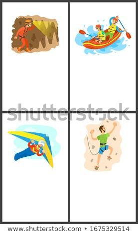 Duvar tırmanma aşırı spor ayarlamak vektör Stok fotoğraf © robuart