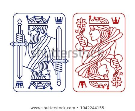 Kaszinó kártyapakli vonal szimbólumok fehér gyémánt Stock fotó © SArts