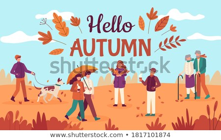 Hello Autumn People Walking in Park Fall Vector Stock photo © robuart