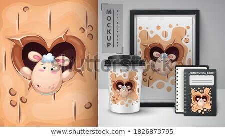 Sevimli çılgın kuzu poster vektör eps Stok fotoğraf © rwgusev