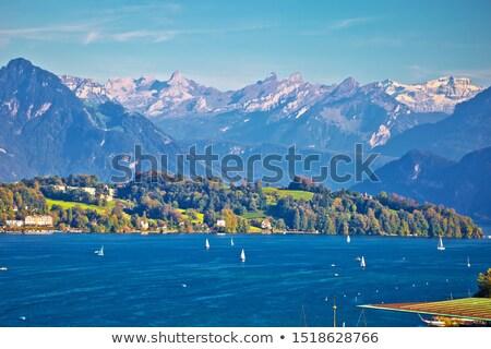 Jezioro żeglarstwo cel alpejski widoku krajobrazy Zdjęcia stock © xbrchx