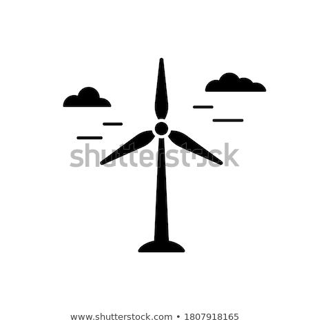 Szélmalom megújuló energia állomás ikon turbina vektor Stock fotó © robuart