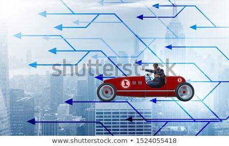 biznesmen · jazdy · samochodu · widok · z · boku · młodych · czarny - zdjęcia stock © elnur