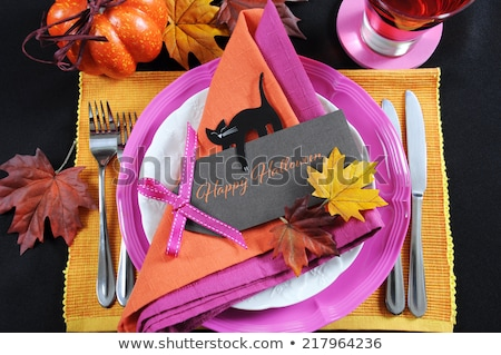 halloween table setting in pink colors stock photo © furmanphoto