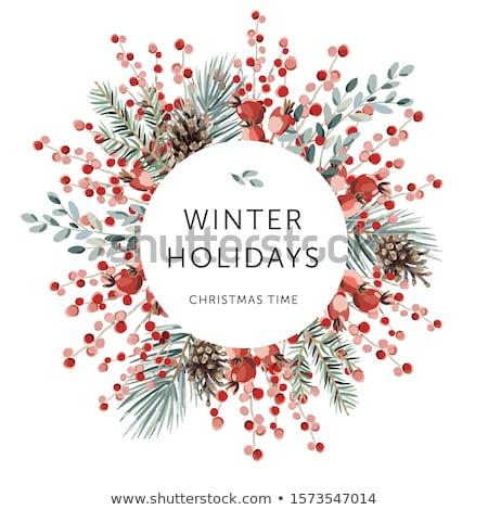 Allegro Natale buon anno poster ghirlanda rosso Foto d'archivio © ikopylov