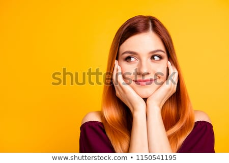 Young trendy woman with colored bright red head  Stock photo © dariazu