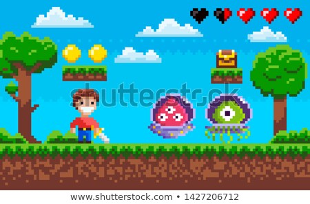 Adversary Knight and Ufo, Pixel Game, Hero Vector Stock photo © robuart