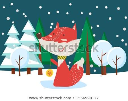 Fuchs stehen Weihnachten Wald Tier Stock foto © robuart