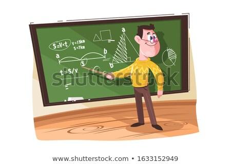 Wiskunde leraar wijzend verschillend formules hoogleraar Stockfoto © jossdiim