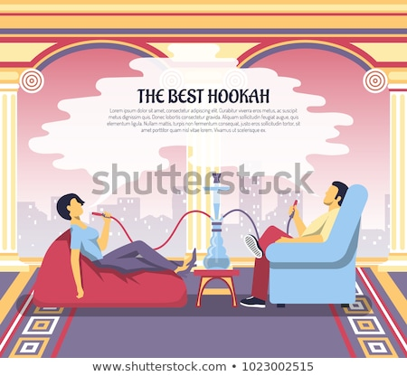 Hookah Lounge And Bar Advertising Poster Vector Stock photo © pikepicture