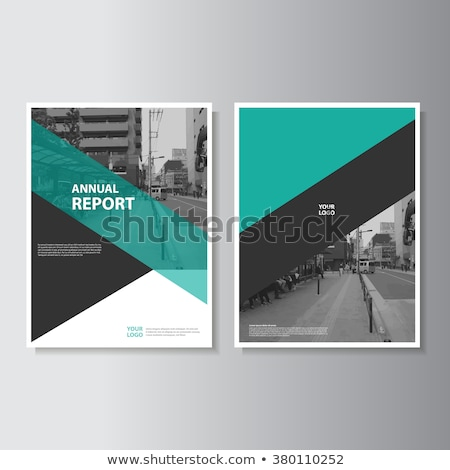 green geometric business annual report template design Stock photo © SArts